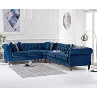Limoges Medium Blue Velvet Corner Sofa