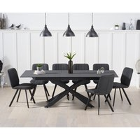 Boston 180cm Grey Stone Extending Dining Table with Dexter Faux Leather Chairs - Brown, 6 Chairs