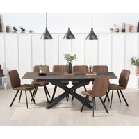 Boston 180cm Mink Ceramic Extending Dining Table with Dexter Faux Leather Chairs - Grey, 6 Chairs