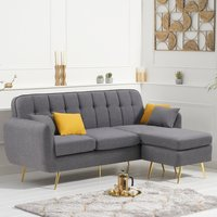 Brema Grey Linen 3 Seater Chaise Corner Sofa Bed with Gold Legs
