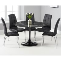 Brighton 120cm Round Black Marble Dining Table With Calgary Dining Chairs