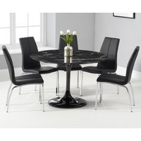 Brighton 120cm Round Black Marble Dining Table With Cavello Dining Chairs - Ivory, 2 Chairs