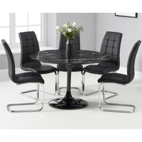 Brighton 120cm Round Black Marble Dining Table With Lorin Dining Chairs - Grey, 2 Chairs
