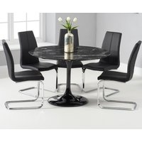 Brighton 120cm Round Black Marble Dining Table With Tarin Dining Chairs - Grey, 2 Chairs