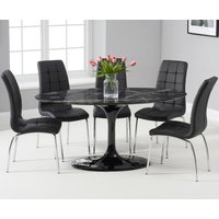 Brighton 160cm Oval Black Marble Dining Table With Calgary Dining Chairs - Brown, 4 Chairs