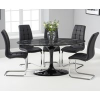 Brighton 160cm Oval Black Marble Dining Table With Lorin Dining Chairs