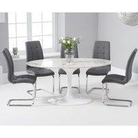Read more about Brighton 160cm oval white marble dining table with lorin dining chairs