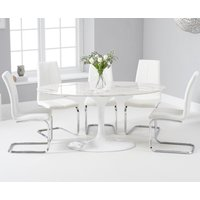 Read more about Brighton 160cm oval white marble dining table with tarin dining chairs