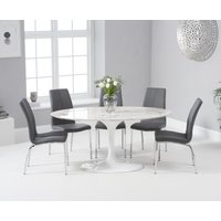 Product photograph showing Ex-display Brighton 160cm Oval White Marble Dining Table With 4 Grey Cavello Dining Chairs