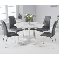 Brighton 120cm Round White Marble Dining Table With Calgary Dining Chairs - Grey, 2 Chairs