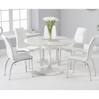 Brighton 120cm Round White Marble Dining Table With Cavello Dining Chairs - Cream, 2 Chairs
