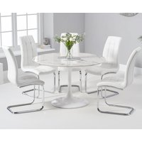 Brighton 120cm Round White Marble Dining Table With Lorin Dining Chairs - White, 2 Chairs