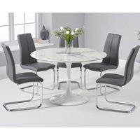 Brighton 120cm Round White Marble Dining Table With Tarin Dining Chairs - Cream, 2 Chairs