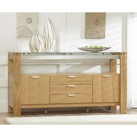 Product photograph showing Cannes 160cm Oak And Glass Sideboard