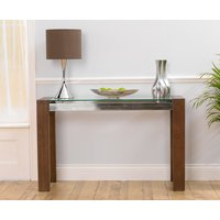 Product photograph showing Ex-display Cannes Walnut Glass Console Table