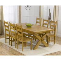 Cheshire 200cm Solid Oak Extending Dining Table with Vermont Chairs - Grey, 6 Chairs