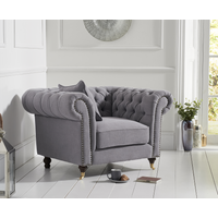 Read more about Carrara chesterfield grey linen armchair