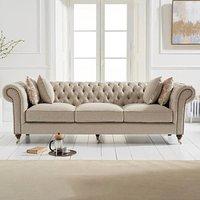 Carrara Chesterfield Cream Linen 3 Seater Sofa