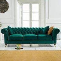 Carrara Chesterfield Green Velvet 3 Seater Sofa