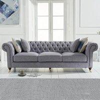 Carrara Chesterfield Grey Linen 3 Seater Sofa