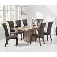 Carvelle 160cm Brown Pedestal Marble Dining Table with Alpine Chairs