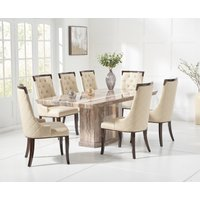 Carvelle 160cm Brown Pedestal Marble Dining Table with Angelica Chairs