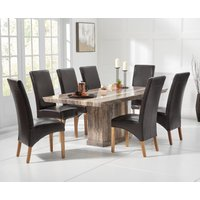 Carvelle 160cm Brown Pedestal Marble Dining Table with Cannes Chairs