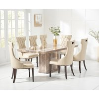 Carvelle 160cm Brown Pedestal Marble Dining Table with Freya Chairs