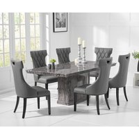 Carvelle 200cm Dark Grey Pedestal Marble Dining Table with Freya Chairs