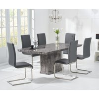Carvelle 160cm Dark Grey Pedestal Marble Dining Table with Malaga Chairs