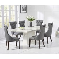 Carvelle 160cm White Pedestal Marble Dining Table with Freya Chairs
