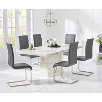 Carvelle 160cm White Pedestal Marble Dining Table with Malaga Chairs