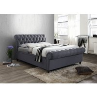 Product photograph showing Arkansas Charcoal King Size Side Ottoman Bed