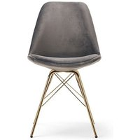 Product photograph showing Ex-display Set Of Four Celine Grey Velvet Gold Leg Dining Chairs