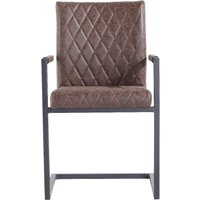 Kylo Brown Diamond Stitch Carver Chairs - Brown, 2 Chairs