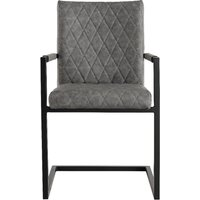 Kylo Grey Diamond Stitch Carver Chairs - Grey, 2 Chairs