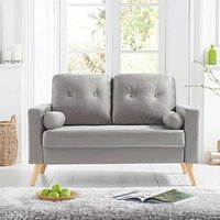 Product photograph showing Chandler Grey Velvet 2 Seater Sofa