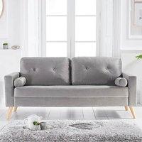 Chandler Grey Velvet 3 Seater Sofa