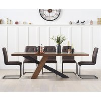 Chateau 180cm Black Leg Industrial Dining Table with Alexa Dining Chairs - Brown, 6 Chairs