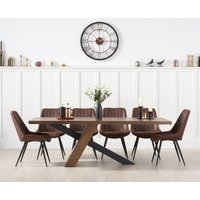 Chateau 225cm Black Leg Industrial Dining Table with Marcel Antique Dining Chairs - Brown, 6 Chairs