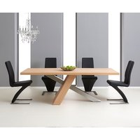 Chateau 180cm Oak and Metal Dining Table with Hampstead Chairs