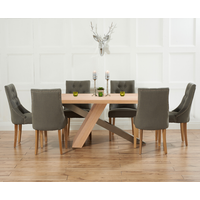 Chateau 180cm Oak and Metal Industrial Dining Table with Pacific Fabric Chairs