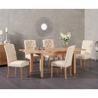 Cheadle 120cm Oak Extending Dining Table with Claudia Chairs - Grey, 4 Chairs