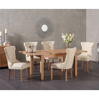 Cheadle 130cm Oak Extending Dining Table with Camille Fabric Chairs - Grey, 4 Chairs
