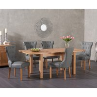 Cheadle 130cm Oak Extending Dining Table with Camille Faux Leather Chairs - Grey, 4 Chairs