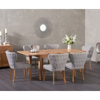 Cheadle 130cm Oak Extending Dining Table with Isobel Fabric Chairs - Grey, 4 Chairs
