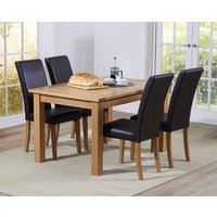 Read more about Cheadle 130cm oak extending dining table with albany chairs - grey- 4 chairs