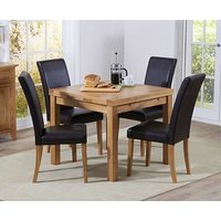 Product photograph showing Ex-display Cheadle 90cm Oak Extending Dining Table With 4 Black Albany Chairs