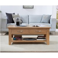 Product photograph showing Ex-display Cheadle Oak Four Drawer Coffee Table