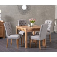 Cheadle 90cm Oak Extending Dining Table with Claudia Chairs - Grey, 4 Chairs